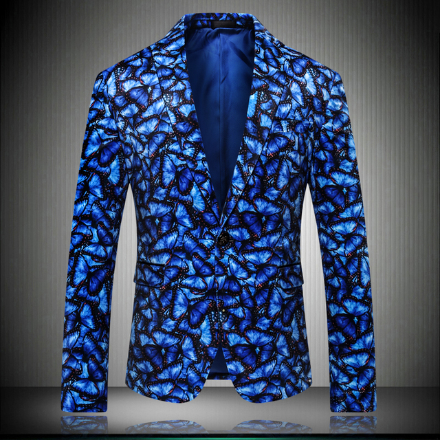 Blue Yellow Men Blazer Jacket 2019 New Great Designer Brand Pattern Slim Party Stage Wear For Singer Male Blazers 5XL K9010-1