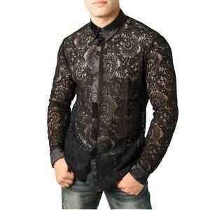 Image 2 - Mens Mesh Fishnet Clubwear Shirts 슬림 피트 롱 슬리브 섹시한 레이스 셔츠 남성 파티 이벤트 Prom Transparent Chemise 2XL