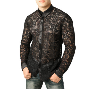 Image 2 - Mens Mesh See Through Fishnet Clubwear Shirts Slim Fit Long Sleeve Sexy Lace Shirt Men Party Event Prom Transparent Chemise 2XL