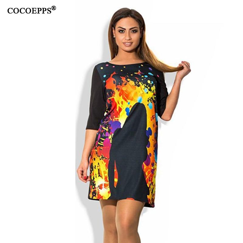 fashionable elegan print vestidos dresses big sizes