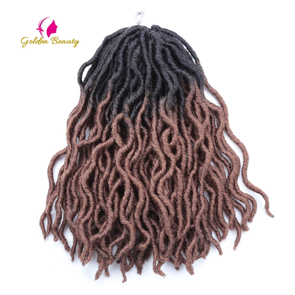 Goddess Locs Crochet Hair Crochet Twist Braids Wave Synthetic Hair Extension Faux Locs For African 12 inch Golden Beauty