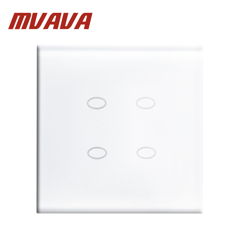 MVAVA IC Origining From UK 4 Gang 1 Way Touch Switch Luxury Crystal Glass Panel Home Wall Light Switch Touch Control Wall Light smart home us black 1 gang touch switch screen wireless remote control wall light touch switch control with crystal glass panel