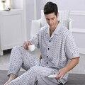 2016 Homens de Verão Conjuntos de Pijama Pijama Pijama De Fibra De Bambu de Manga Curta Xadrez Turn-Down Salão Casual Wear Sleepwear Mais tamanho 4XL