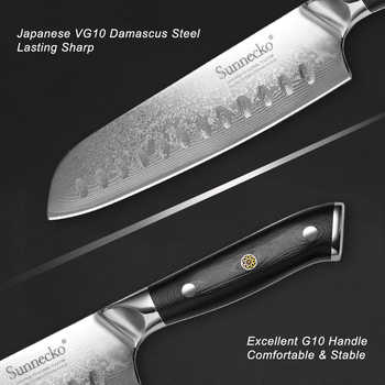 SUNNECKO 5PCS Kitchen Knives Set Japanese Damascus VG10 Super Steel Sharp Utility Chef Knife G10 Handle Chef Cooking Cutter Tool