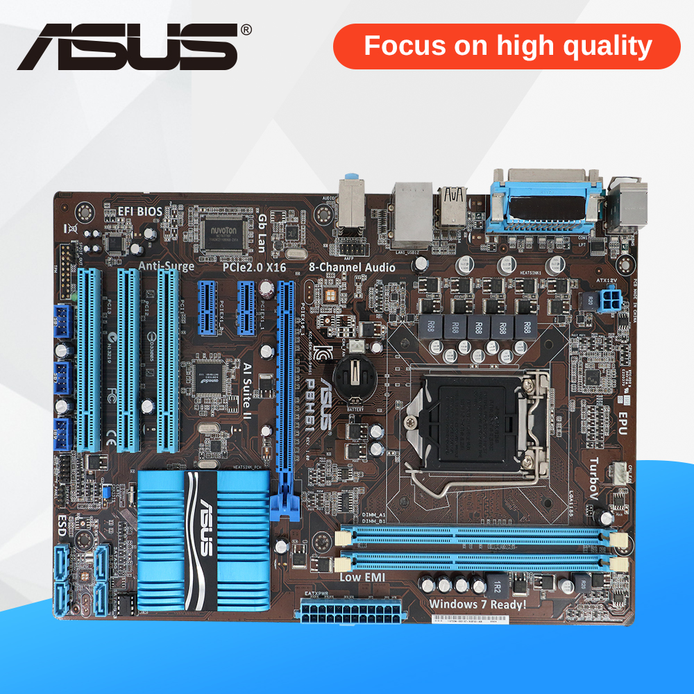 Asus P8H61 Desktop Motherboard H61 Socket LGA 1155 i3 i5 i7 DDR3 16G ATX On Sale ms h61xl h61 maxsun motherboard 1155 needle match g530 g620 i3 brand new and authentic two tpyes random distribution