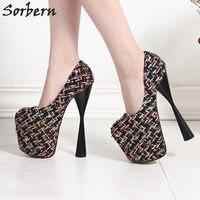 Sorbern/женские туфли лодочки на платформе с каблуком решеткой, пикантные туфли на высоком каблуке 19 см, обувь для вечеринок, обувь для подиума,
