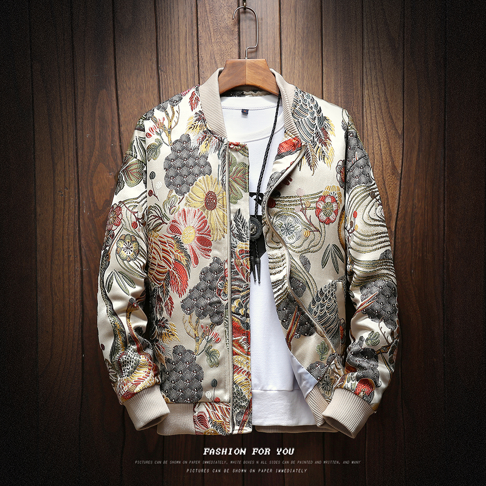Homme veste printemps 2019 japonais broderie hommes vestes et manteaux Hip Hop Style Streetwear hommes veste manteau Bomber veste hommes