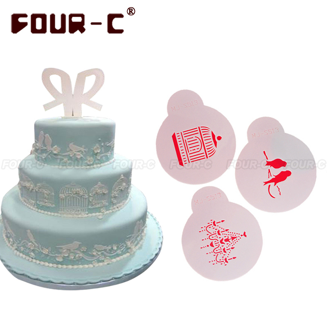 Birdcage Bird Chandelier Cake Stencil Mould Kitchen Accessories Decoration Decorating Tools