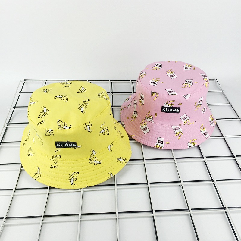 2019 New Banana Fries Fisherman Hat Women Basin Cap Female Double-sided Wearing Visor Summer Street Casual Couple Hat Beanies