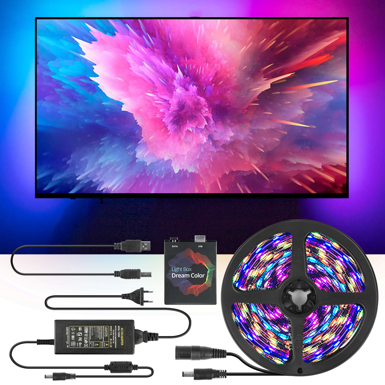 5V RGB USB LED Strip Light 5050 SMD Android Ambilight -TV Desktop PC Backlight Addressable Ws2812b Pixel Strip1M 2M 3M 4M 5M Kit