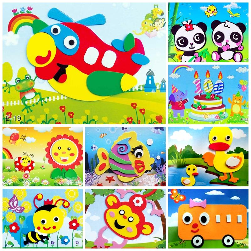 DIY Animal Dos Desenhos Animados 3D Etiqueta Da Espuma de EVA Puzzle Brinquedos Para Crianças de Aprendizagem Educação Brinquedos de ação Menina Presente de Aniversário Do Partido Dos Miúdos