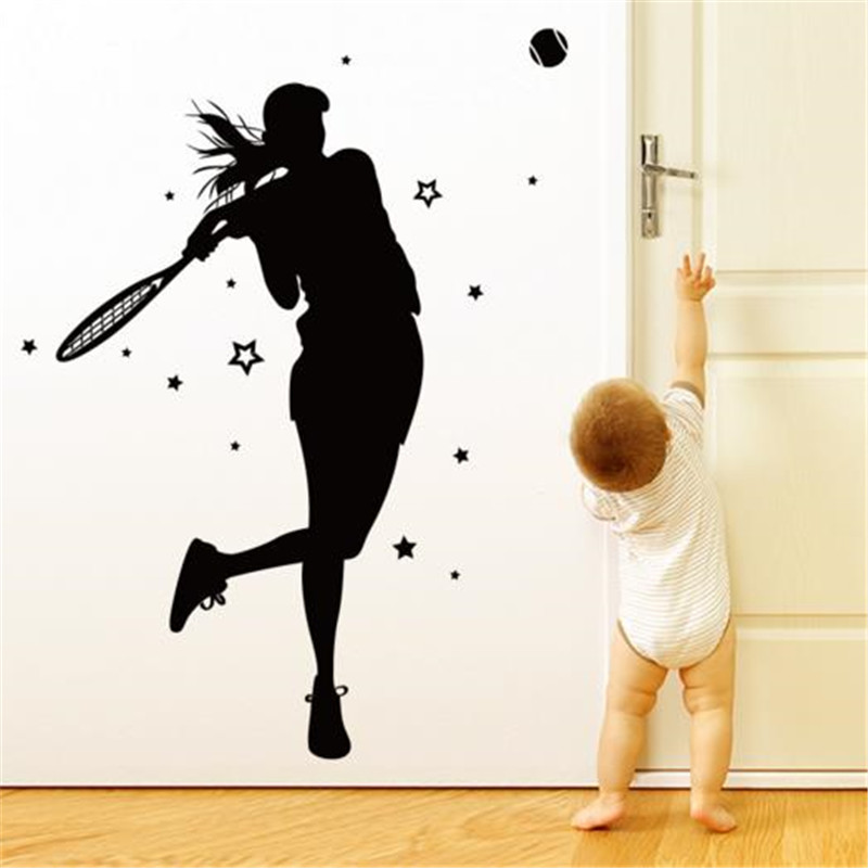 Customized Girl Tennis Player Wall Sticker Vinyl DIY Mural Art for Living Room Kids Room Gymnasium Decoration