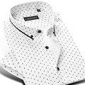 100% Хлопок Марка Мужчины Горошек Повседневная Рубашка С Коротким Рукавом Формальное бизнес Slim Fit Мужчины Рубашки Платья Плюс Размер 4XL Летом Стиль