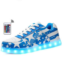Remote Led Light Up Shoes Women Brights Unisex Spring&Summer Luminous Sneakers usb charge colorful boy girl glowing Flash