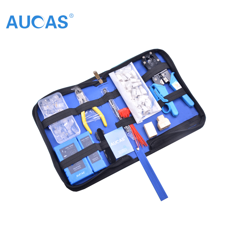 цена на Aucas Ethernet Cable tool RJ11 RJ45 Cat5 Cat6 Crimp network Cable crimping tool set Crimper pliers tool set kit network tool bag