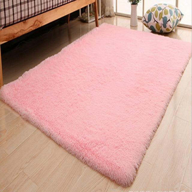 US $5.45 50% OFF|Rosa Farbe Wohnzimmer Warme Teppich Europäischen  Flauschigen Kinderzimmer Teppich Schlafzimmer Matte Weiche Faux Pelz  Bereich ...