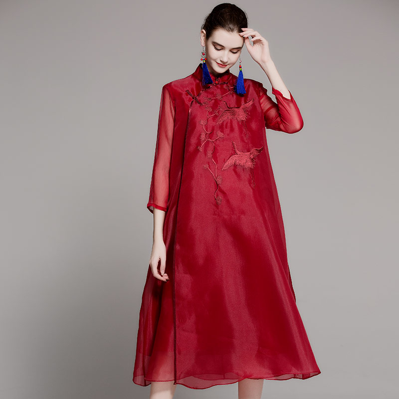 Women's embroidered organza women dress spring and summer new three quarter sleeve vintage ethnic embroidery dress S-3XL