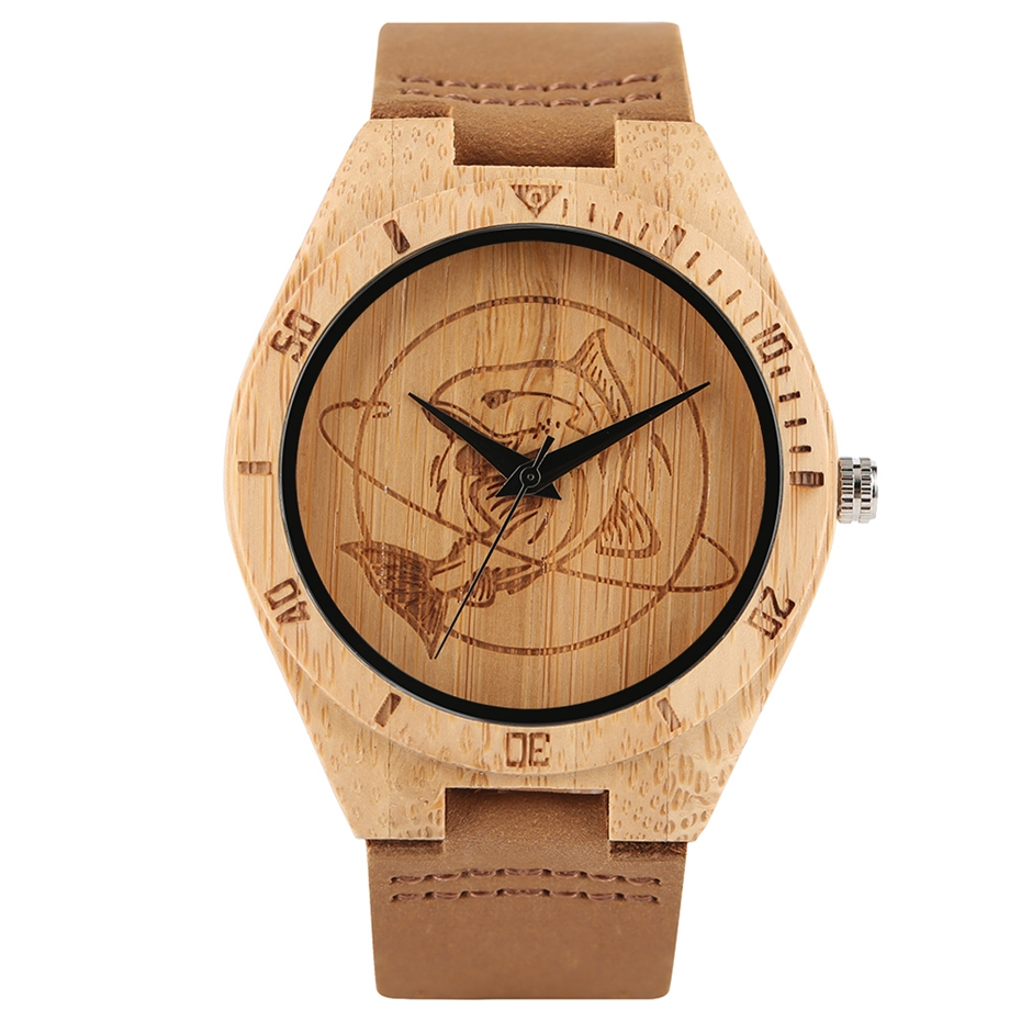 Natural Mens Wooden Wrist Watch Casual Dress Style Engraved Fish Handicraft Dial Light Bamboo Wood Relogio Gifts Genuine Leather 2017 (1)