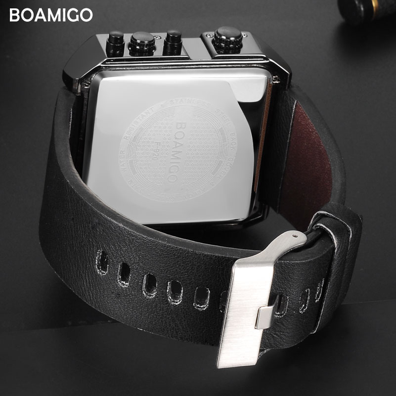 Image 5 - BOAMIGO Sport Fashion Men Military Dual Time Watch Multiple Time Zone Luxury Chronograph Watch Leather Square Quartz Wristwatch-in Quartz Watches from Watches
