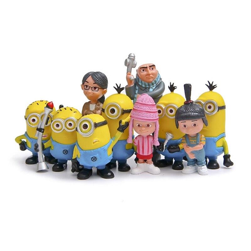 10pcs/set Despicable Me 2 Minion Toys Anime Minion Gru Orphans Girl Minion PVC Action Figure Toys Model Toy Gift for Children