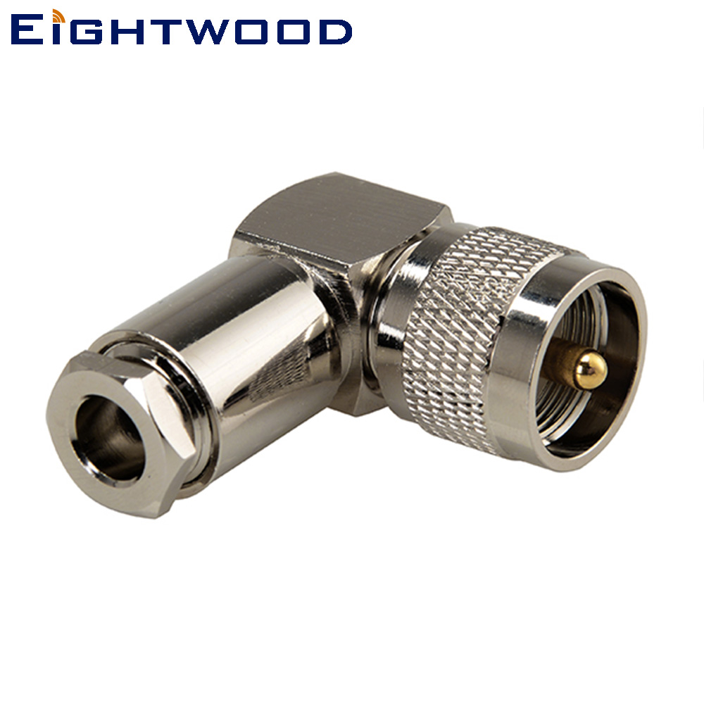 Eightwood RF Connector UHF Clamp Plug Pin Right Angle for LMR300 Cable (2PCS)