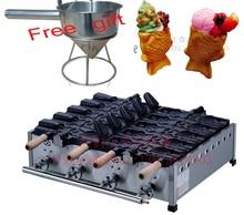 Free shipping~ Gas type 10 pcs a plate Ice cream taiyaki machine Fish cone waffle machine