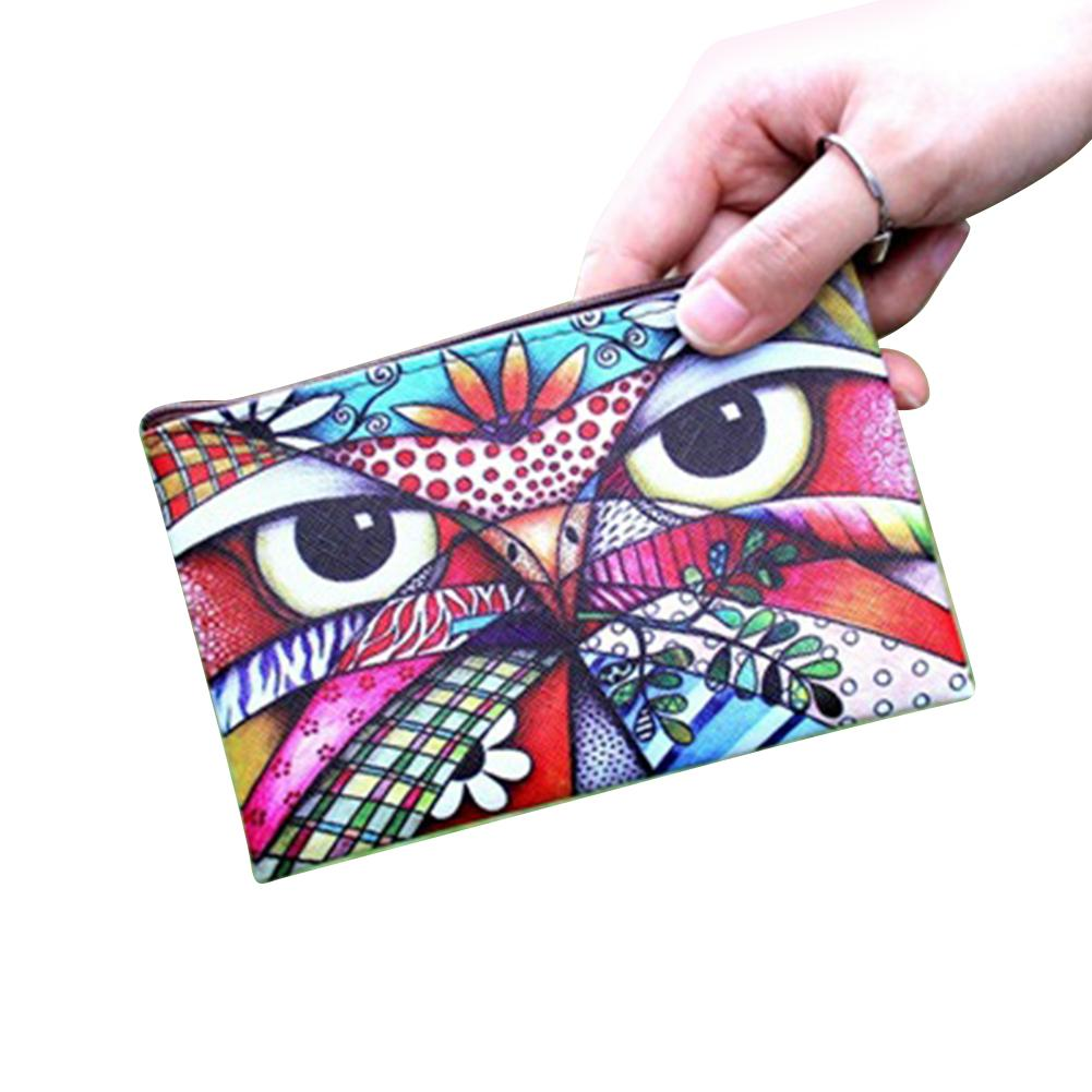 Rectangle Cartoon Printed Coin Purse Faux Leather Mini Wallet with Keyring Bags for Women 2018 classic printed round decorated faux leather chain bracelet for women
