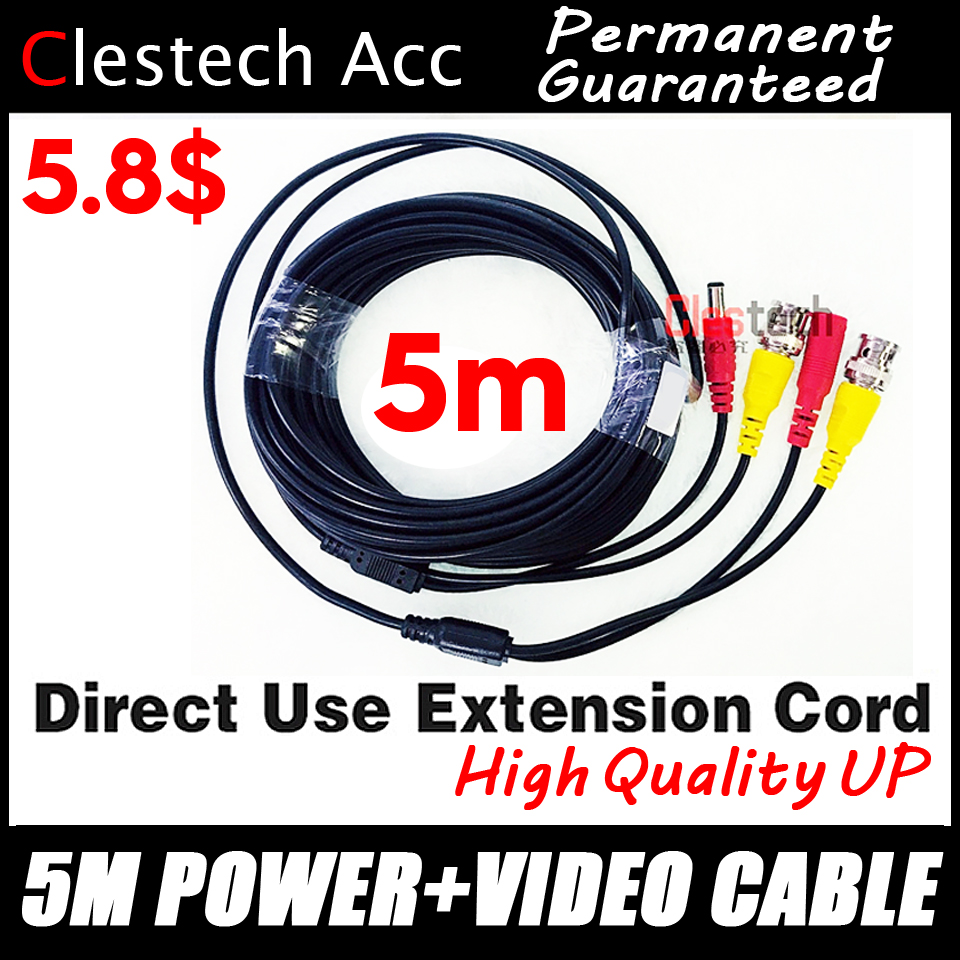 Good Quality 5M WIRE Video Power Cables Camera Extend Wires For CCTV DVR Surveillance System With BNC DC Connectors Extension