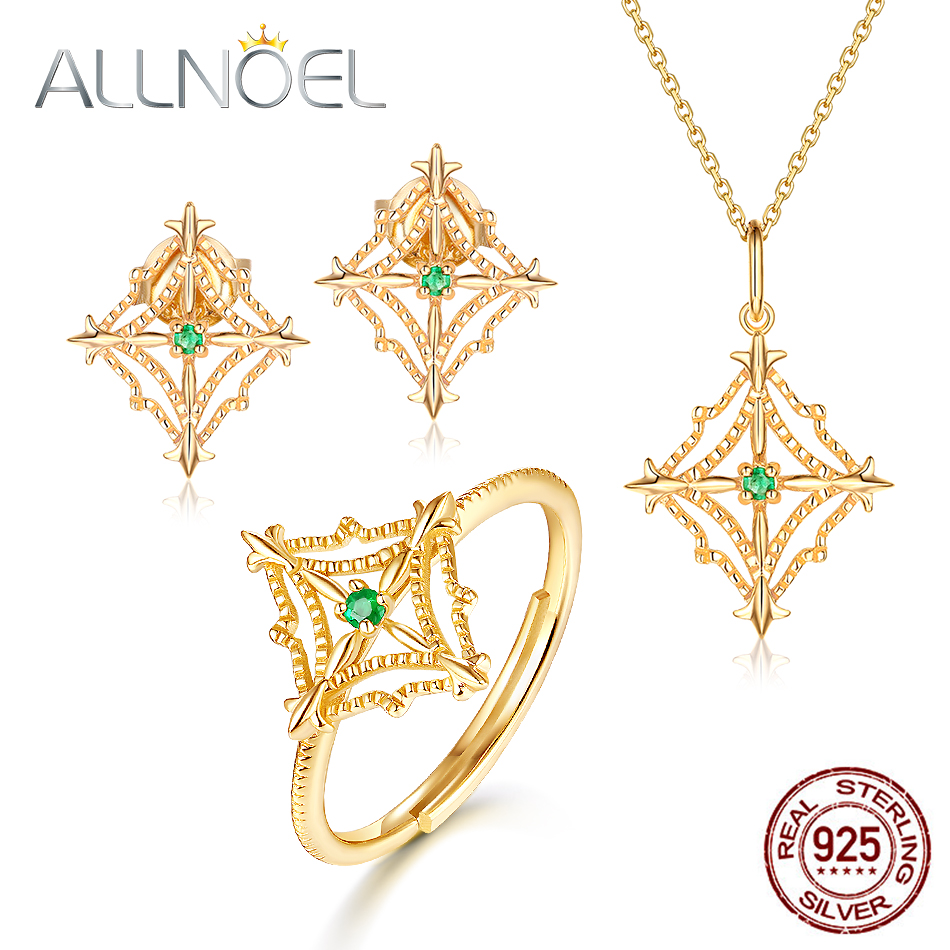 ALLNOEL 925 Sterling Silver Emerald Jewelry Set For Women Real Emerald 9K Gold Plated Pendant Necklace Ring Stud Earrings New