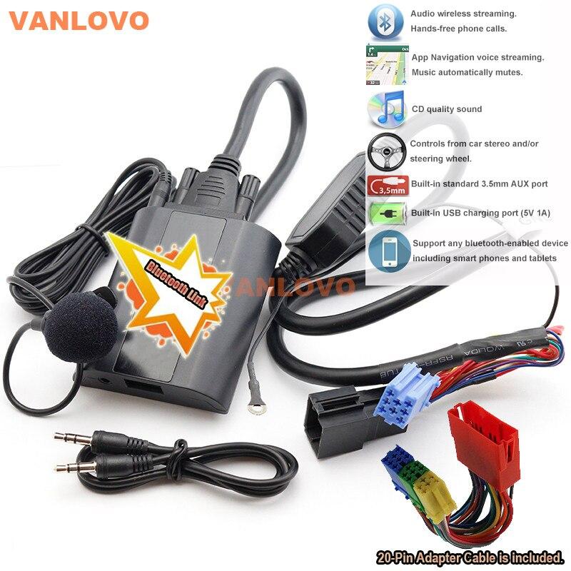 Kit de voiture Bluetooth Link avec Interface auxiliaire et chargeur USB pour Audi OEM Radio Chorus II Concert I & II symphonie I & II RNS-D