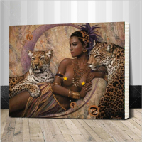 WLDAFEN Sexy Women And Leopard Animals DIY Painting By Numbers Abstract Painting Acrylic Picture For Home