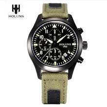 HOLUNS Quartz Watches Men Military Luxury Simple Waterproof Sport Wrist Leather Strap Watch Auto Date Display Gifts Clock