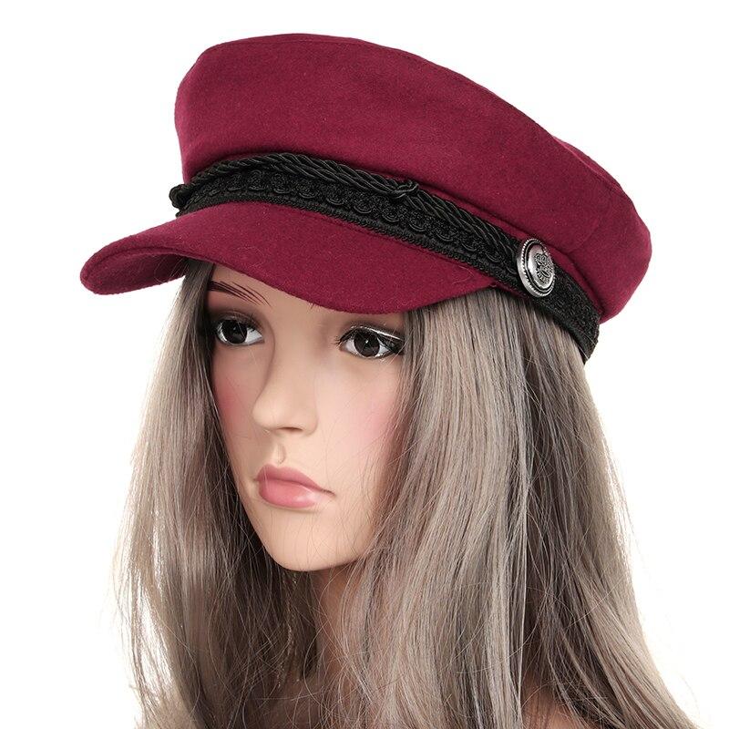 Fashion Warm Winter Hats For Women Octagonal Cap Wool Button Rope Visor Baseball Caps Black Female Casual Streetwear Hat 2018