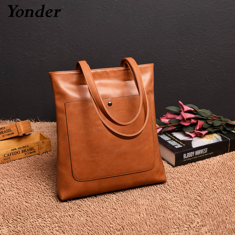 Yonder women leather handbags designer shoulder bag female large tote bag ladies high quality top handle bag vintage yellow/pink