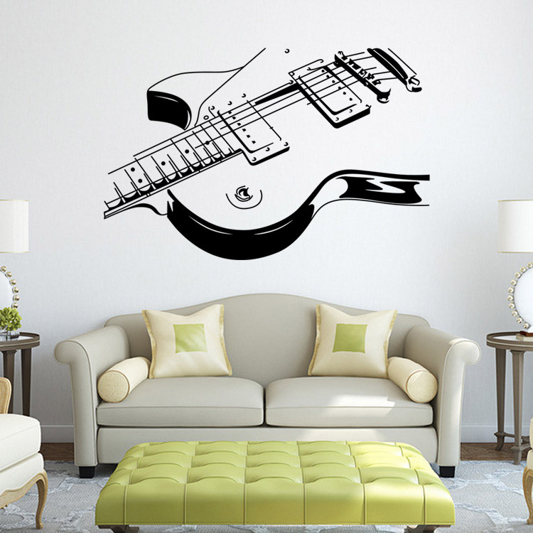 2017 New Design Fine Sketch Creative Personality Guitar Home Decoration Wall Stickers Living Room Wall Decals