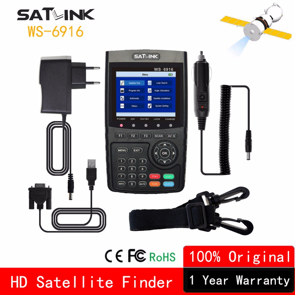 Satlink WS-6916 Satellite Finder DVB-S2 MPEG4 Digital High Definition Portugal Spain Sat finder Satlink Digital Satellite Meters satlink ws 6979se satellite finder meter 4 3 inch display screen dvb s s2 dvb t2 mpeg4 hd combo ws6979 with big black bag