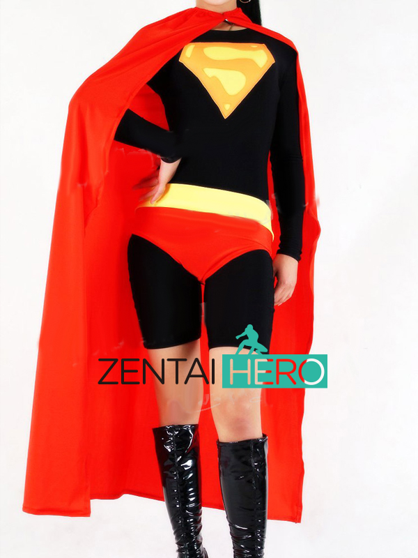 Free Shipping DHL Custom Made Black and Red Sexy Supergirl Superhero Zentai Suit Lycra Spandex Zentai Suit with Cloak S-XXXL
