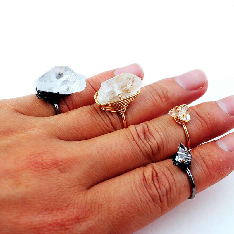 בוהמיה בובו טבעי גדול אבן טבעת לנשים DIY בציר קריסטל זהב פתוח טבעת אירוסין חתונה טבעות אנל Bague Femme מתנה