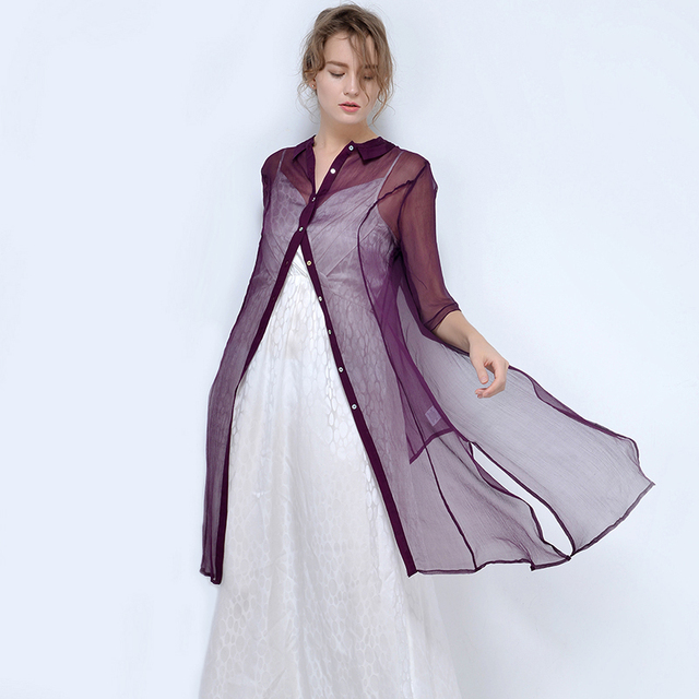 76aadb6198e23f 2017 Spring Pure Silk Long Perspective Shirt Women Half Sleeve Blouse 100% Mulberry  Silk Top Thin Cardigan S/M/L Free Shipping