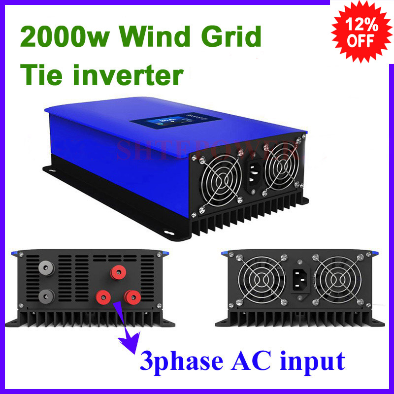 MPPT 2000W Wind Power Grid Tie Inverter with Dump Load Controller/Resistor for 3 Phase wind turbine/LCD display maylar 3 phase input45 90v 1000w wind grid tie pure sine wave inverter for 3 phase 48v 1000wind turbine no need extra controller