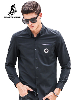 Pioneer camp shirt men 2019 Top quality New brand clothing t Men's Shirt Fashion Causal Long Sleeve black male Shirts 611506