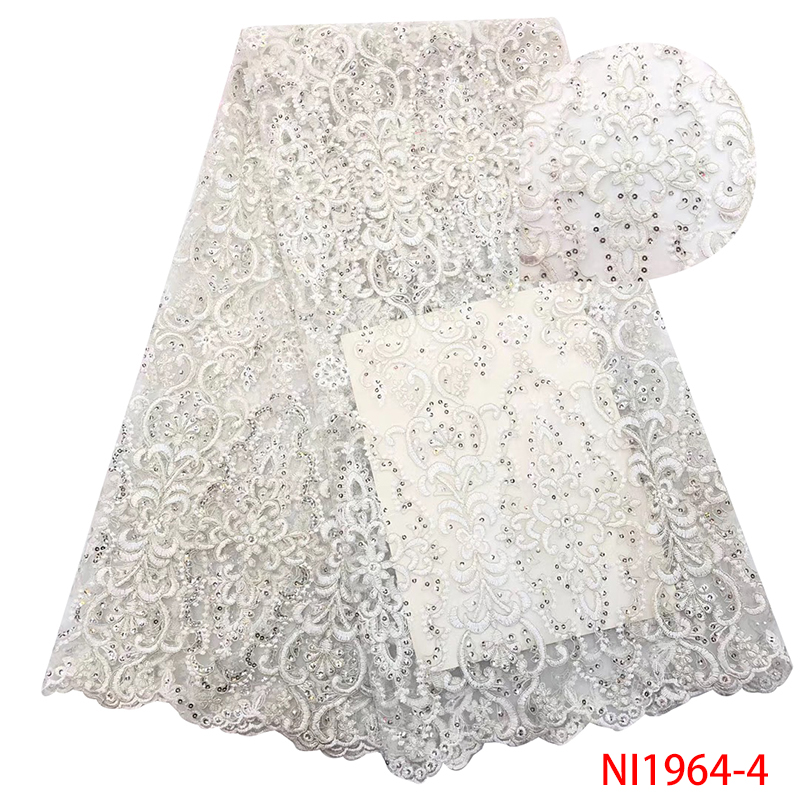 Net Lace Fabric,French Embroidery Tulle Laces With Sequins,African Lace Fabric 2019 High Quality Lace For Dresses KSNI1964-4