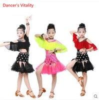 2017 Tassel bright diamond Girl Standard Latin Dance Dress Children Ballroom Dance Dresses Kids Samba Tango Dress