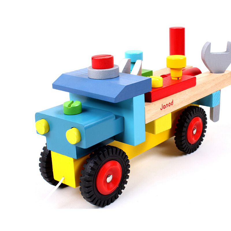 2017 Baby Wooden Train Dragging Truck Toy Children Kids Educational Diecasts antistress Toys Vehicle Building Blocks Set MZ17 wooden stacking train vehicle building blocks kids educational montessori geometric assemb matching cognitive blocks toys