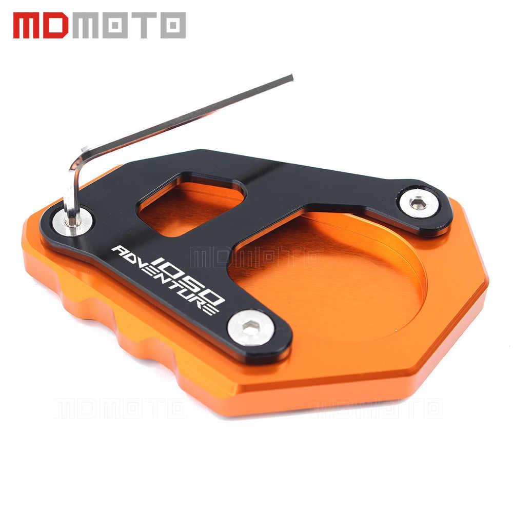 Logotipo 1050 Adv CNC Alumínio laranja Motocicleta Kickstand Descanso Lateral Do Pé Pad Extensão Placa de Suporte Para KTM 1050 Aventura