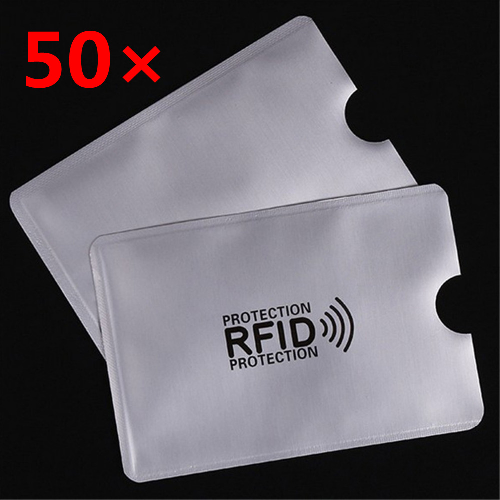 50 pcs/set IC Credit card Protection RFID Shielded Sleeve Card Sliver Blocking NFC security Card to Prevent unauthorized scan ic card 10 pcs