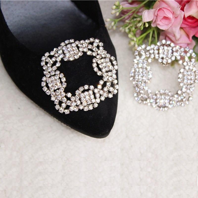 1 Piece Crystal Shoe Clip Decoration Women Shoe Rhinestone Charm Metal Shoe Square Clamp Bridal Shoes Rhinestone Accessories