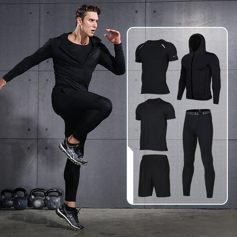 5 Pieces Compression men fitness clothing sets quick dry sports running suits hood basketball soccer gym training jogging suits 2016 boys running pants soccer trainning basketball sports fitness kids thermal bodybuilding gym compression tights shirt suits page 2