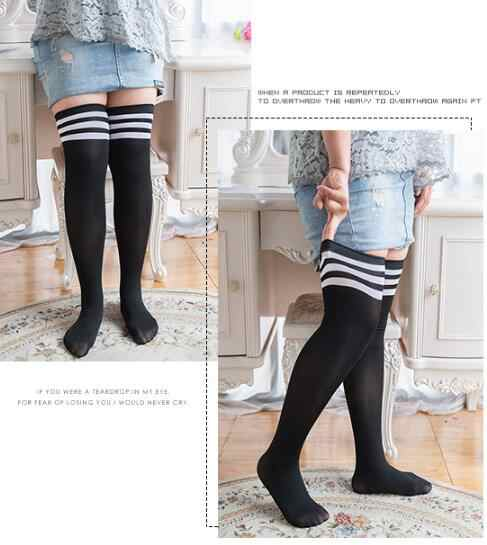 033cabf93d1 ... Fashion Striped Knee Socks Women Cotton Thigh High Over The Knee  Stockings plus size large