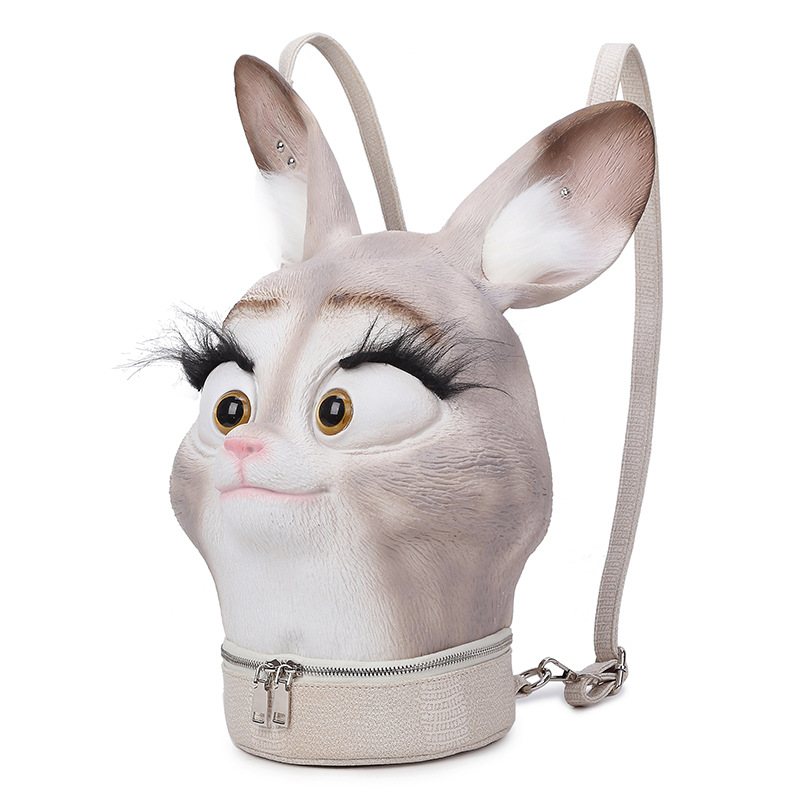 Fashion Personality 3D Solid lifelike Rabbit Head Bunny Animal backpack Halloween Cool Travel Soft School Bags Teenage hiphop